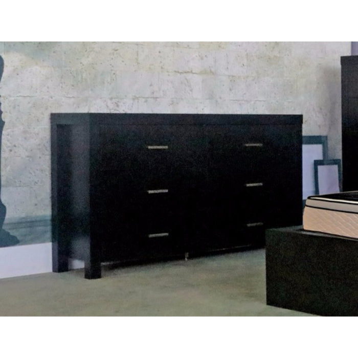 HomeRoots Office Classy Dresser With Six Storage Drawers On Metal Glides, Black Finish.
