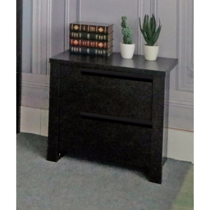 HomeRoots Office Modern Style Dark Brown Finish Nightstand With 2 Drawers On Metal Glides.