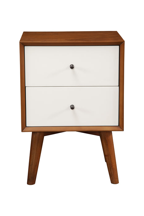 HomeRoots Office Nightstand With Two Drawers, Brown and White