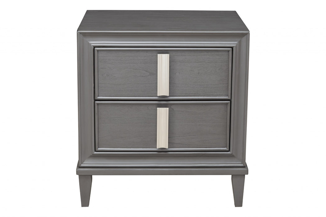 HomeRoots Office Nightstand With Two Drawers, Gray and White