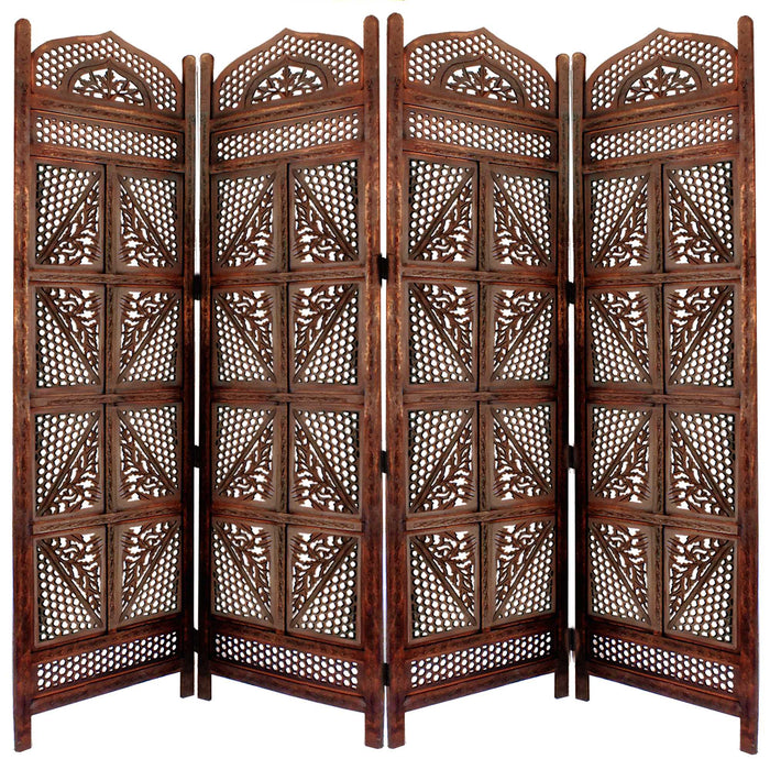 HomeRoots Four Panel Wooden Room Divider with Hand Carved Details, Antique Brown