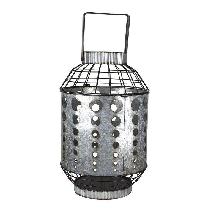 HomeRoots Galvanized Metal Candle Lantern with Cutout Design, Gray
