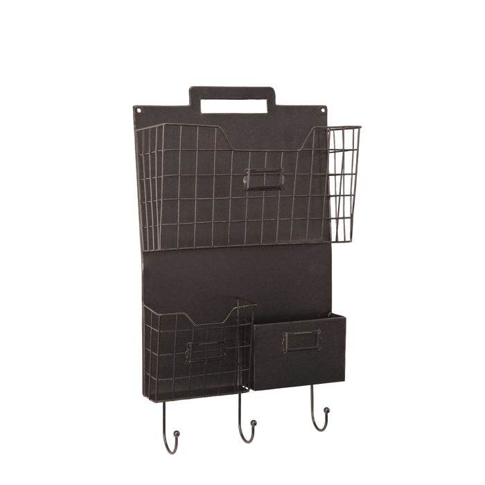 HomeRoots Office Wall Mounted Metal Organizer with Three Baskets and Hooks, Brown