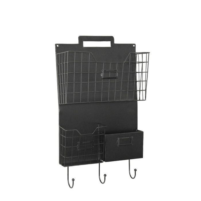 HomeRoots Office Wall Mounted Metal Organizer with Three Baskets and Hooks, Black