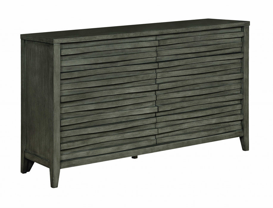 HomeRoots Office Wave Patterned Wooden Dresser with Eight Spacious Drawers, Dark Taupe Brown