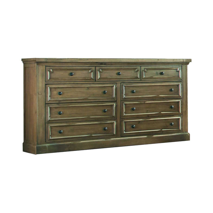 HomeRoots Office Wooden Dresser with Nine Self Closing Drawers and Jewelry Tray, Brown