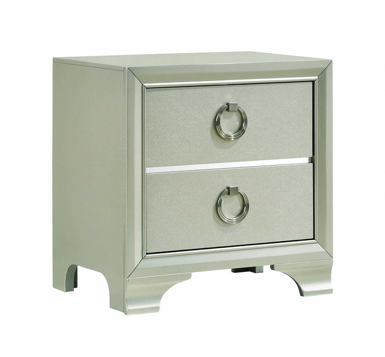 HomeRoots Office Two Drawers Wooden Nightstand with Oversized Ring Handles, Silver