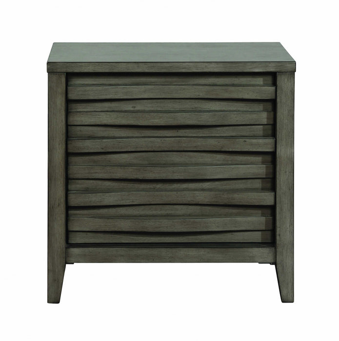 HomeRoots Office Wooden Nightstand with Two Drawers and Dual USB Charging Port, Dark Taupe Brown