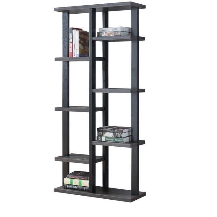 HomeRoots Office Multifunctional Wooden Bookcase Display with Eight Shelve Space, Black and Gray