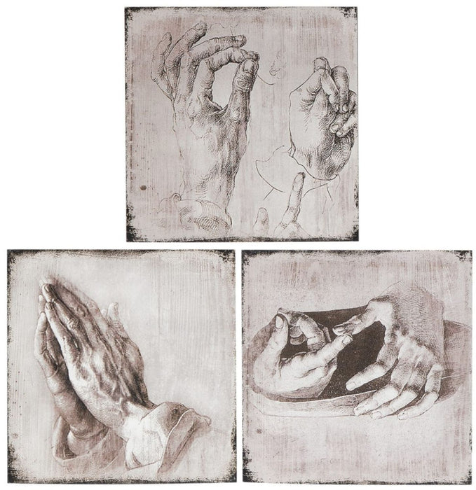 HomeRoots Unique 3 Piece Hand Studies Wooden Wall Art Set, Distressed White and Gray
