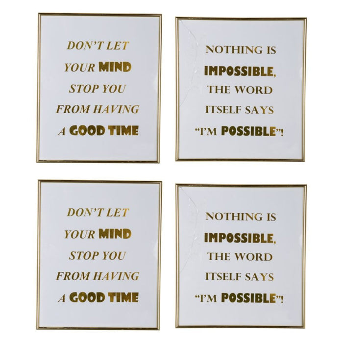 HomeRoots Modern Mindful Sayings Wall Art in Plastic Frame, Large, Set of Four, White and Gold