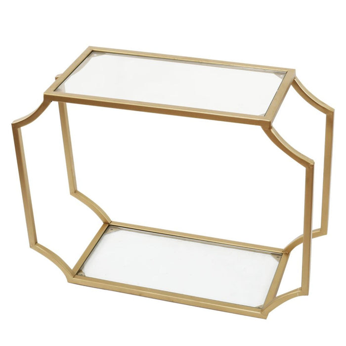 HomeRoots Office Metal Wall Shelf with Two Glass Shelves and Smooth Chamfered Corners, Gold and Clear
