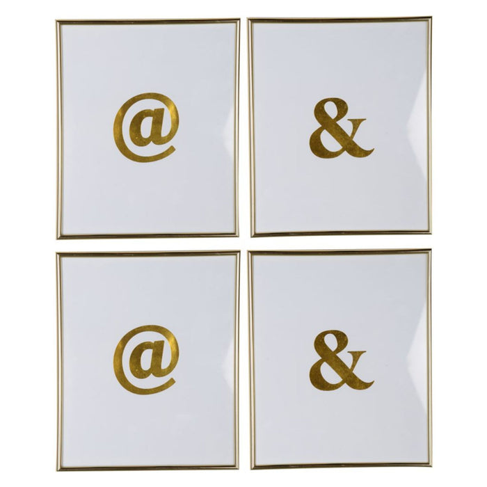 HomeRoots Decorative & and @ Graphic Wall Art in Plastic Frame, Large, Set of Four, White and Gold