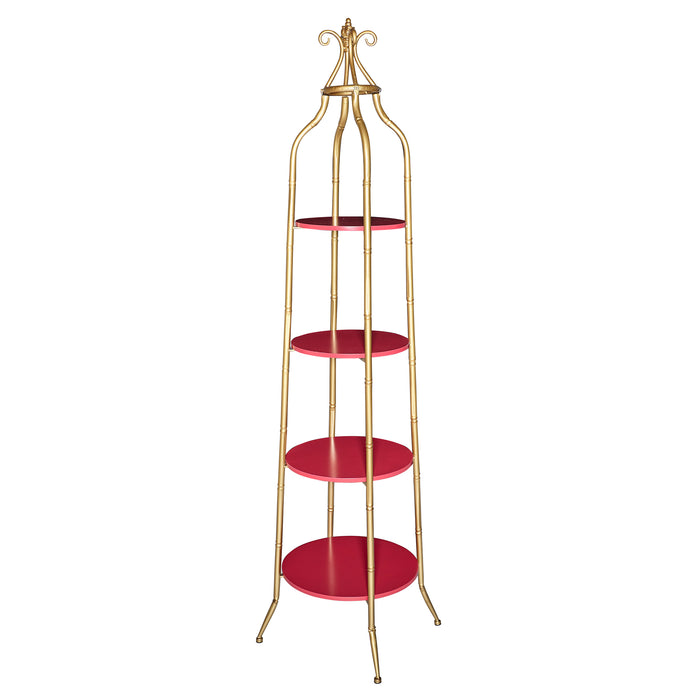 HomeRoots Office Wooden Cathedral Shelf with Metal Tubular Frame, Gold and Red