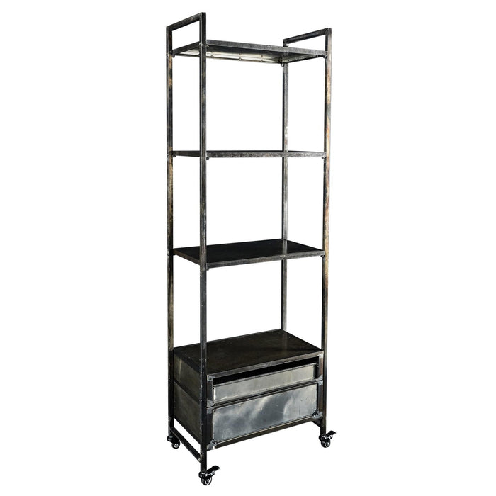 HomeRoots Office 2 Bottom Drawers Metal Book Case with 4 Shelves, Brass and Black