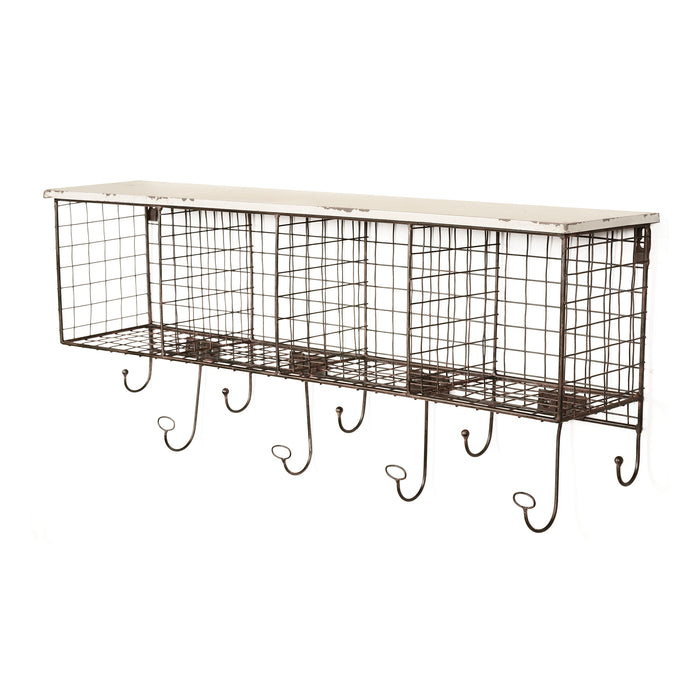 HomeRoots Office Distressed Wood and Metal Wall Shelf with 4 Cubbies, Brown and White