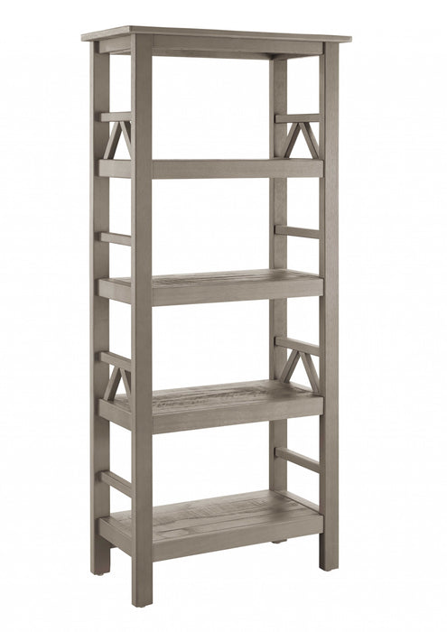 HomeRoots Office Wooden Bookcase with Four Spacious Open Storage Shelves, Gray