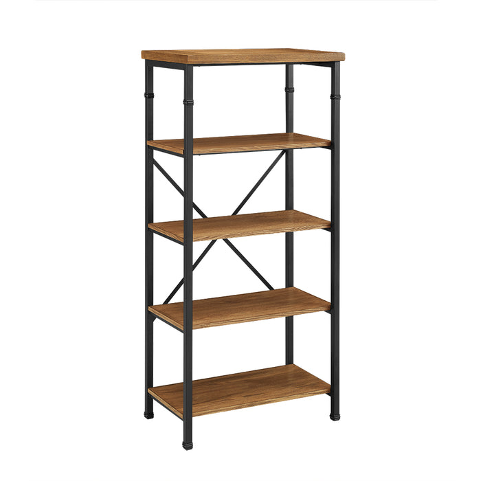 HomeRoots Office Wooden Bookcase with Four Shelves and Metal Legs, Brown and Black