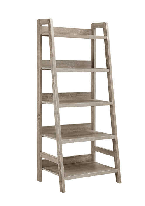 HomeRoots Office Transitional Style Wooden Ladder Bookcase with Five Shelves, Gray
