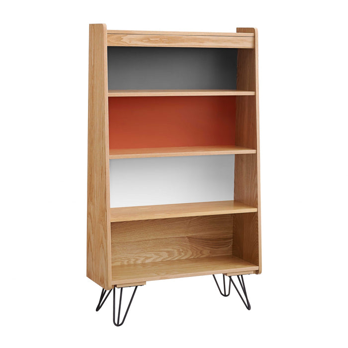HomeRoots Office Wooden Bookcase with Shelved Compartments and Hairpin Legs, Multicolor