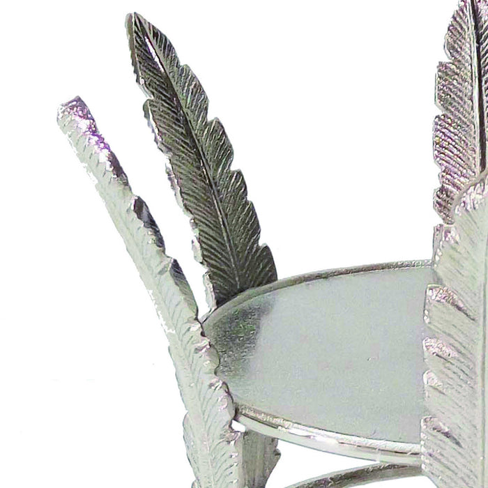 HomeRoots Aluminum Candle Holder Surrounded with Six Leaf Pillars, Silver