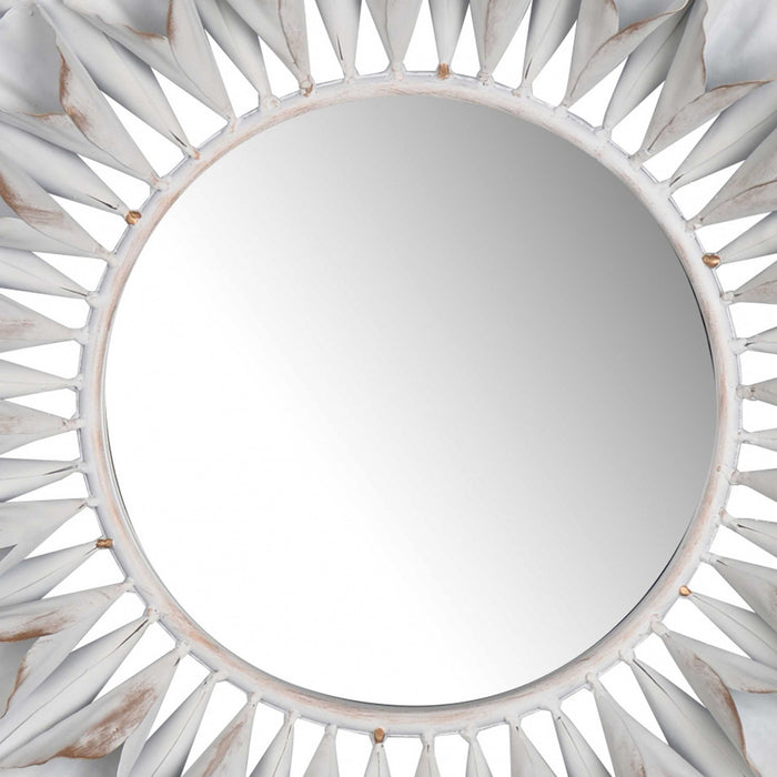 HomeRoots Decorative Metal Wall Mirror with Floral Accents, White and Clear