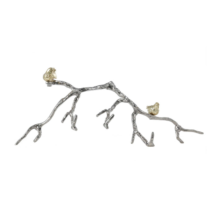 HomeRoots Decorative Wall Hook Branch Shaped with Birds Apogee, Silver and Gold