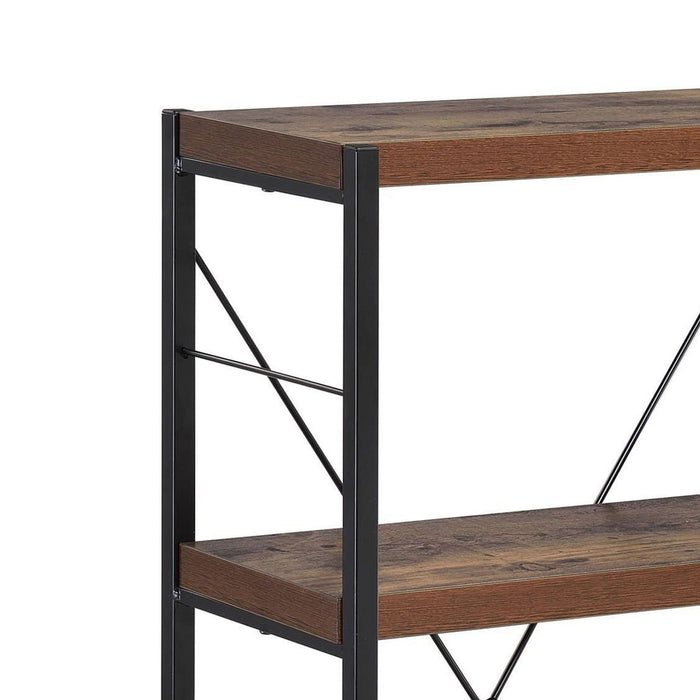 HomeRoots Office Four Tiered Metal Framed Wooden Bookshelf, Weathered Oak Brown and Black
