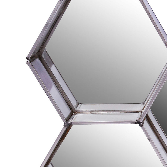 HomeRoots Hexagonal Mirrored Wall Display with Two Keyhole Hanger On Top, Silver