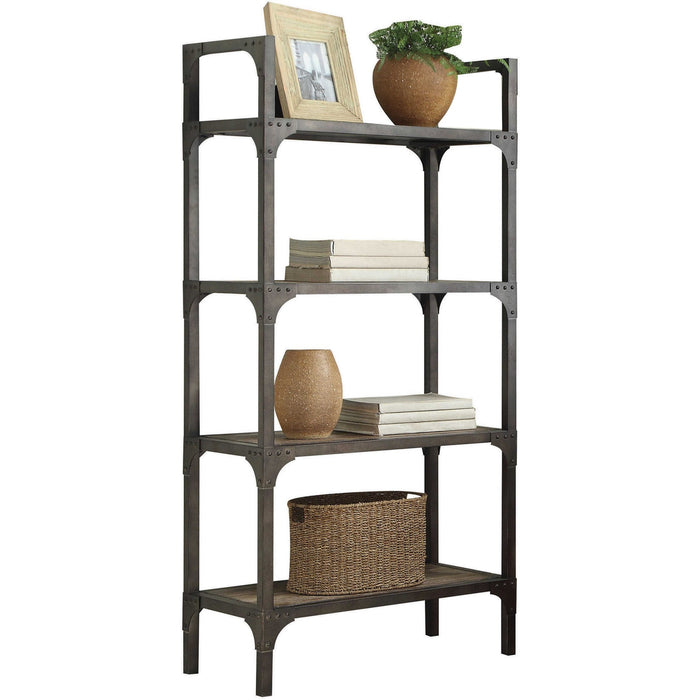 HomeRoots Office Industrial Style Wooden Metal Bookshelf with Four Wooden Shelves, Oak Brown and Gray