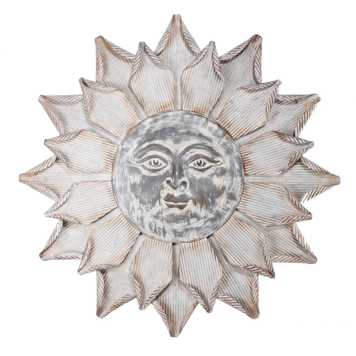 HomeRoots Metal Sun Face Wall Decor with Curved Petals Design, Gray and White