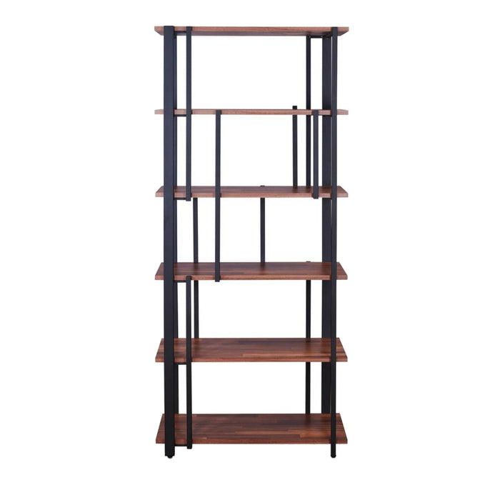 HomeRoots Office Rectangular Metal Frame Bookshelf with Wooden Space, Walnut Brown and Sandy Black