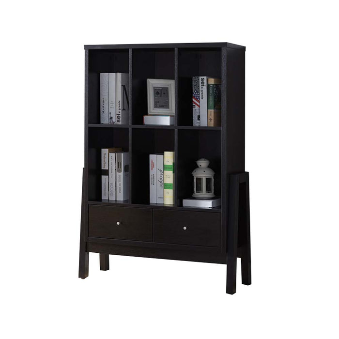 HomeRoots Office Two Drawers Wooden Bookcase with Six Open Shelves, Black