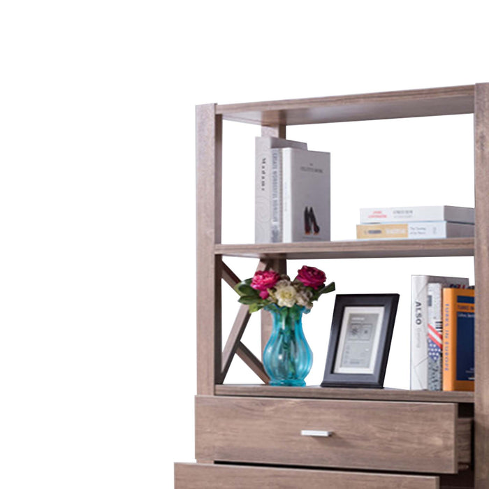 HomeRoots Office Wooden Bookcase with Four Open Shelves and Two Drawers, Brown
