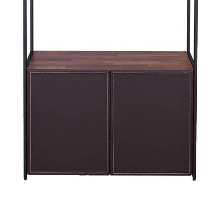 HomeRoots Office Wooden Shelves Bookshelf and Metal frame Rectangle,  Walnut Brown & Sandy Black