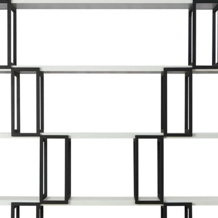 HomeRoots Office Wooden Shelves Bookshelf with Metal frame Rectangle,  White and Black