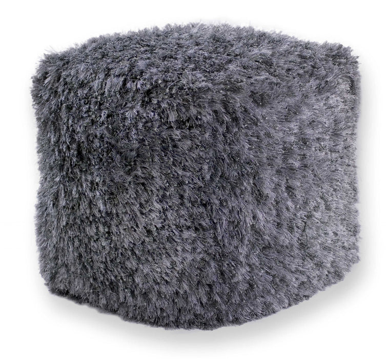 "HomeRoots 18"" x 18"" x 18"" Polyester Silver Pouf"