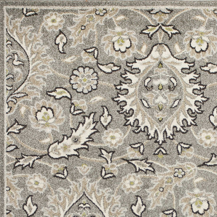 "HomeRoots 23"" x 45"" UV-treated Polypropylene Grey Area Rug"