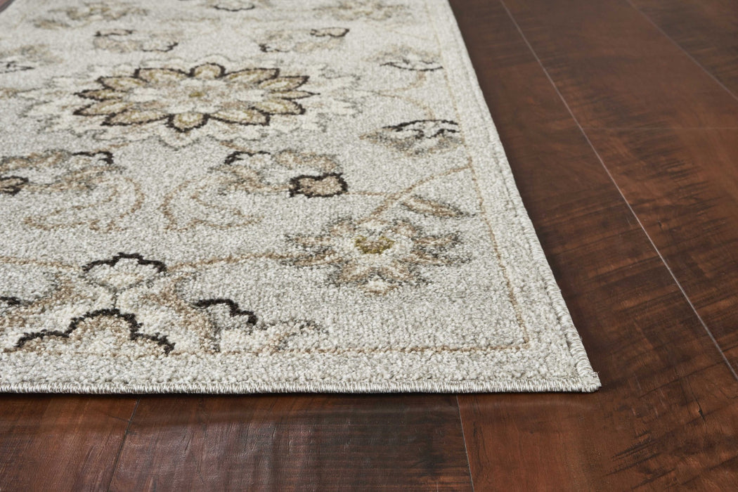 "HomeRoots 23"" x 45"" UV-treated Polypropylene Silver Area Rug"