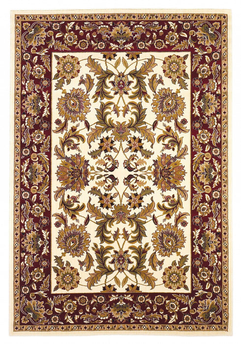 "HomeRoots 20"" x 31"" Polypropylene Ivory/Red Area Rug"