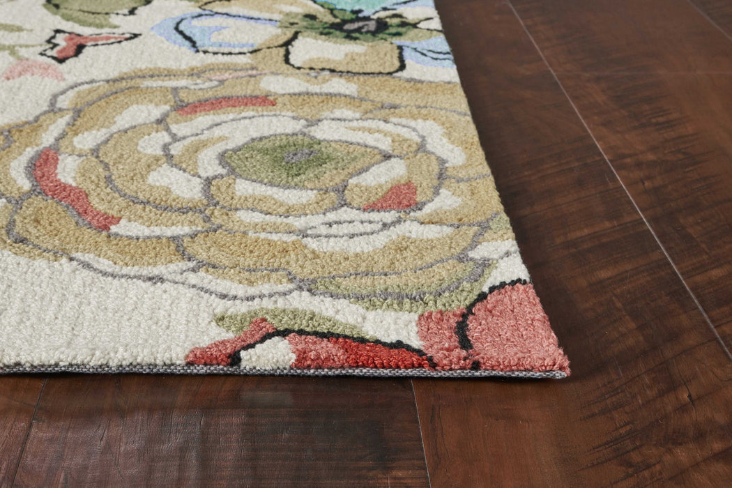 "HomeRoots 20"" x 30"" Polyester Sand Area Rug"