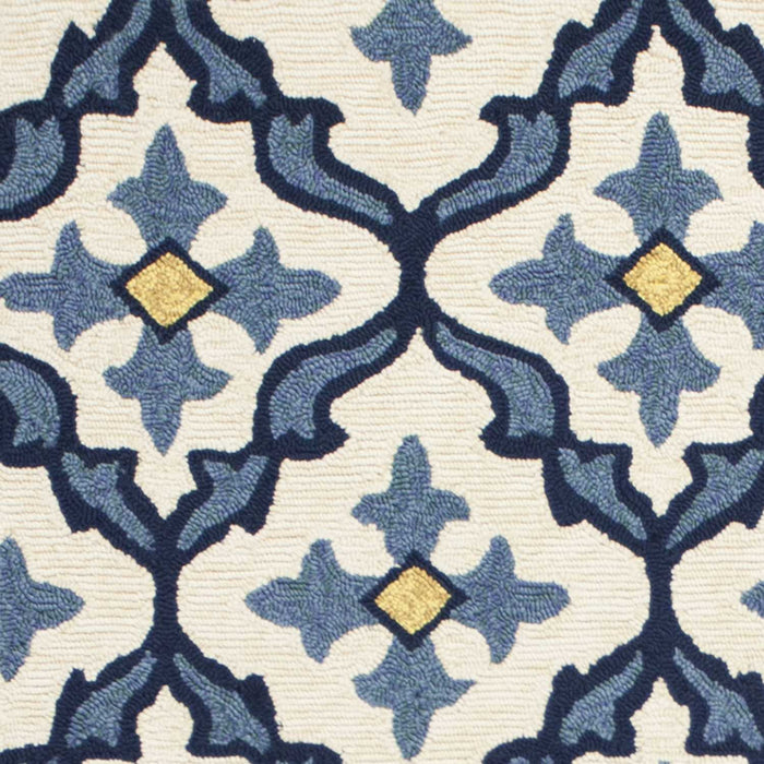 HomeRoots 2' x 3' UV-treated Polypropylene Ivory/Blue Area Rug