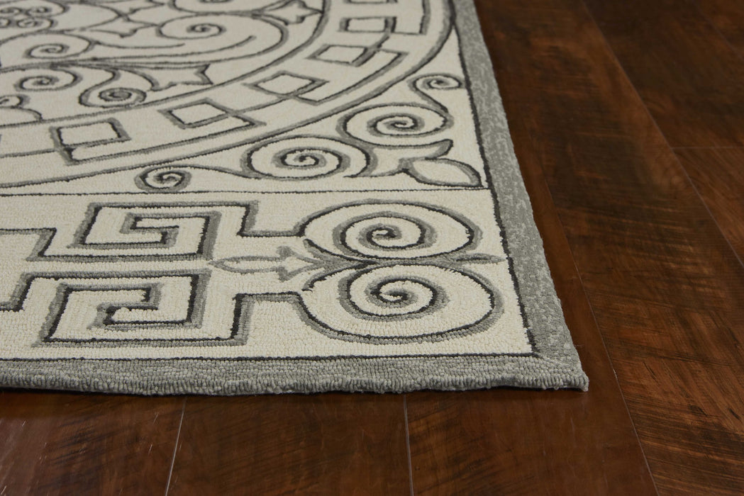 HomeRoots 2' x 3' UV-treated Polypropylene Ivory/Grey Area Rug