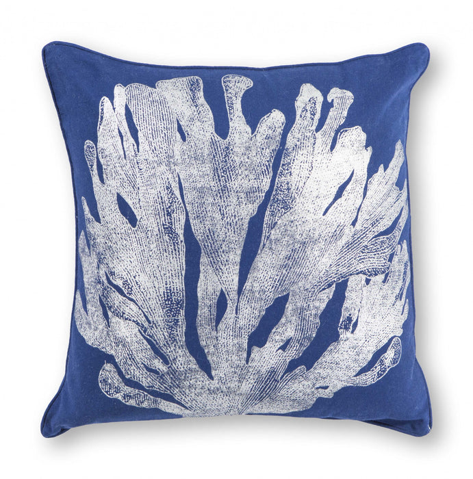 "HomeRoots 18"" x 18"" Cotton Blue/Silver Pillow"