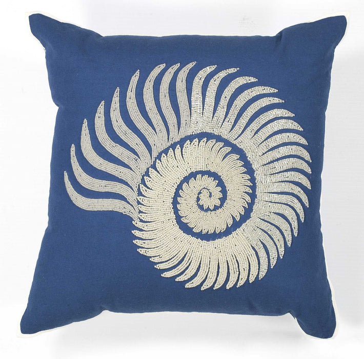 "HomeRoots 18"" x 18"" Cotton Blue/White Pillow"