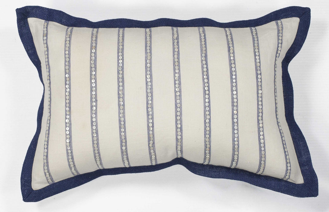 "HomeRoots 12"" x 20"" Cotton Ivory/Blue Pillow"