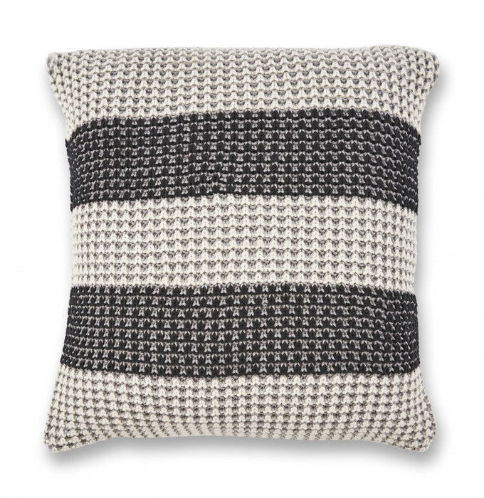 "HomeRoots 20"" x 20"" Cotton Grey/Black Pillow"