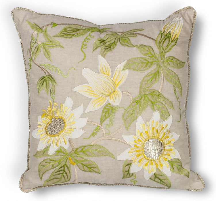 "HomeRoots 18"" x 18"" Cotton Taupe Pillow"