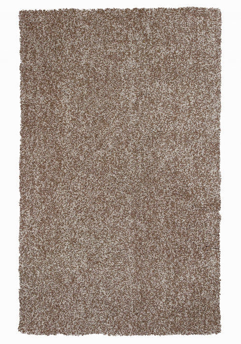"HomeRoots 27"" X 45"" Polyester Beige Heather Area Rug"