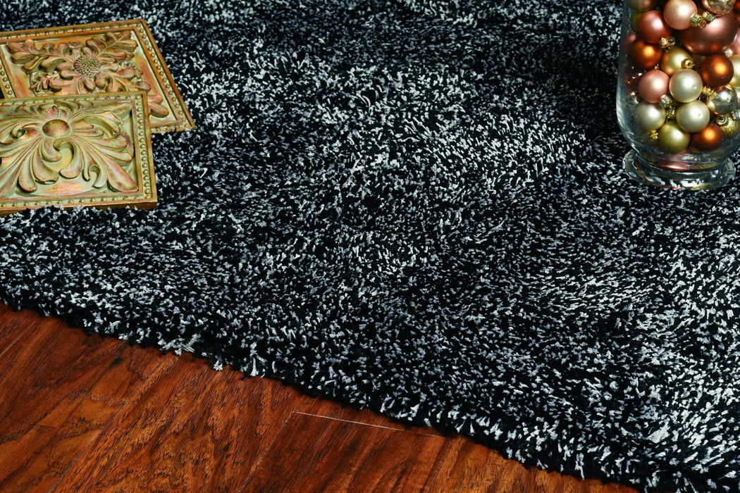 "HomeRoots 27"" X 45"" Polyester Black Heather Area Rug"